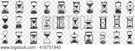 Hourglasses In Rows Doodle Set. Collection Of Hand Drawn Various Hourglasses With Sand Symbol Of Tim