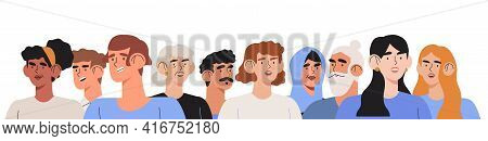 Portrait Of Diverse People Standing Together. Group Of Man And Woman Of Different Nationality, Ages
