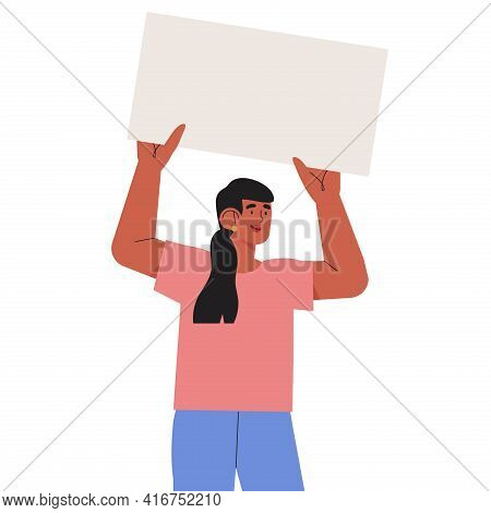 Smiling Young Woman Holding Clean Placard. Joyful Female Cartoon Characters Demonstrating Empty Bann