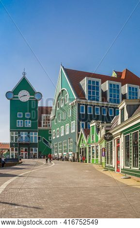 Zaandam, Netherlands - March 31, 2021: Stadhuisplein Square With Colorful Architecture In Zaandam, N