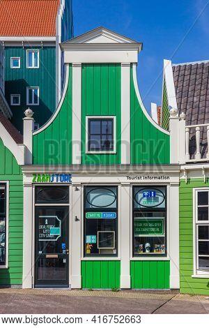 Zaandam, Netherlands - March 31, 2021: Little Tourist Information Office In Zaandam, Netherlands