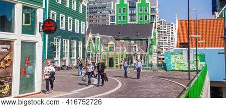 Zaandam, Netherlands - March 31, 2021: Panorama Od The Colorful Stadhuisplein Square In Zaandam, Net
