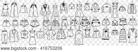 Female And Male Clothes Outfit Doodle Set. Collection Of Hand Drawn Garment Dress Pants Jacket Bags