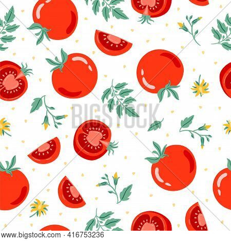 Red Tomato Seamless Pattern Vector Illustration. Cut Tomato, Tomato Slice, Leaves, Flowers And Tomat