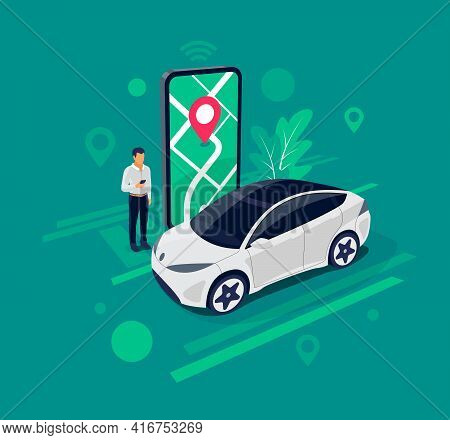 Vector Illustration Of Autonomous Online Car Sharing Service Controlled Via Smartphone App. Modern P