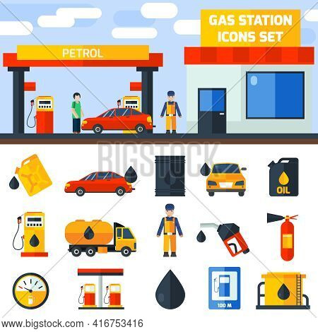Gas Petroleum Diesel Fuel Service Station Banner And Icons Set Composition Poster Flat Abstract Isol