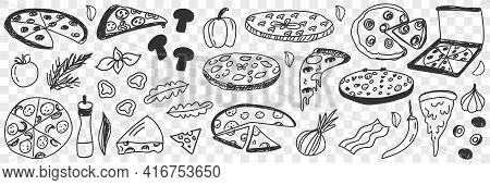 Ingredients For Pizza Doodle Set. Collection Of Hand Drawn Tasty Cheese Vegetables Onion Pepper Sala
