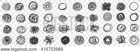 Curves Circles Scribbles Lines Doodle Set. Collection Of Hand Drawn Scribbles Of Various Patterns Wa