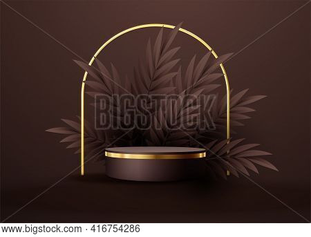 Minimal Black Scene With Geometric Shapes And Palm Leaves. Cylindrical Gold And Black Podium On A Br