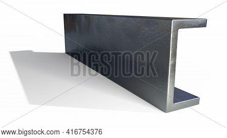 U-beam Metal Profile. Isolated Industrial 3d Illustration