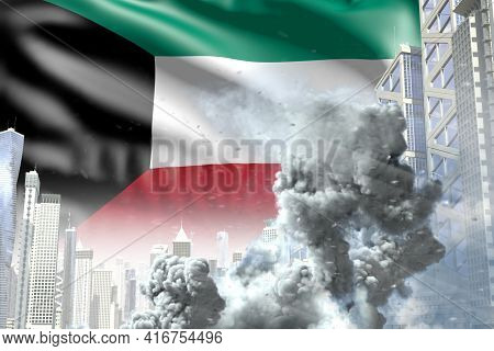 Large Smoke Pillar In The Modern City - Concept Of Industrial Accident Or Terroristic Act On Kuwait