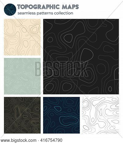 Topographic Maps. Awesome Isoline Patterns, Seamless Design. Beautiful Tileable Background. Vector I