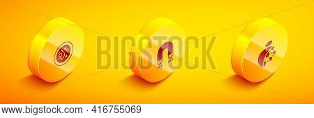 Set Isometric Petri Dish With Bacteria, Magnet And Biological Structure Icon. Vector