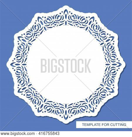 Round Carved Blank. Oriental Pattern, Floral Ornament. Copy Space In The Center. Layout For Plotter