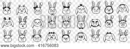 Rabbit Faces Expressions Doodle Set. Collection Of Hand Drawn Various Positive And Negative Expressi