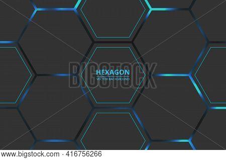 Hexagon Technology Vector Background. Blue Bright Energy Blinks Under The Hexagon In Dark Modern Fut