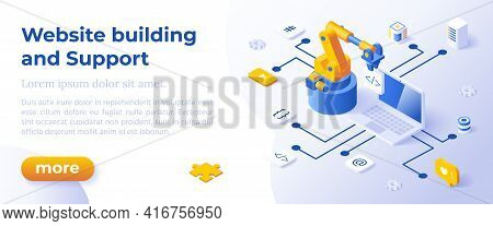 Website Building And Support - Isometric Design In Trendy Colors Isometrical Icons On Blue Backgroun