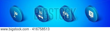 Set Isometric Road Traffic Signpost, Barrier, Railroad Crossing And Train Conductor Icon. Vector