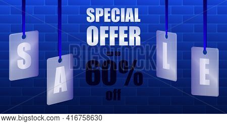 Sale Special Offer. Translucent Glass Or Plastic Cards With Letters On Blue Silk Ribbons With Brickw