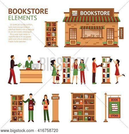 Images Set Of Bookstore Elements Like Store Building Cashbox Booksellers And Customers Choosing Book