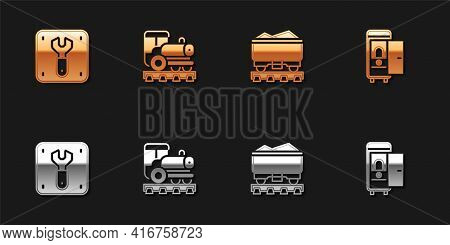Set Repair Of Railway, Vintage Locomotive, Coal Train Wagon And Toilet The Car Icon. Vector