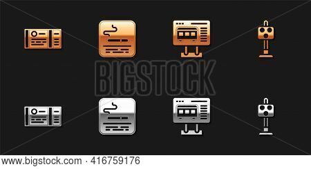 Set Train Ticket, Smoking Area, Ticket Office To Buy Tickets And Traffic Light Icon. Vector