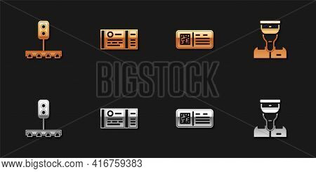 Set Train Traffic Light, Ticket, Qr Code Train And Conductor Icon. Vector
