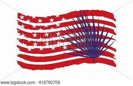 Palm Leaf Silhouette On The Usa Flag. Patriotic Vector Illustration