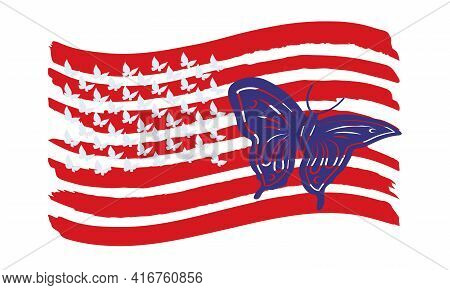 An Openwork Butterfly On The Red Stripes Of The Us Flag. Vector Illustration