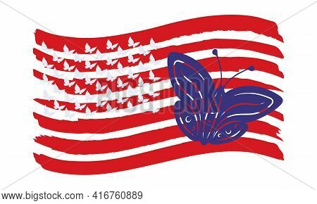 Usa Flag Vector Design With Silhouettes Of Flying Butterflies