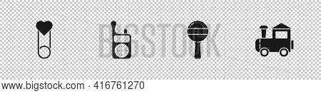 Set Baby Clothes Pin, Monitor Walkie Talkie, Rattle Baby Toy And Toy Train Icon. Vector