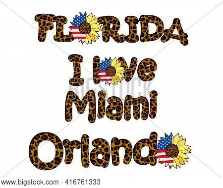 Florida Cities Decorated With Leopard Print And Decorated With A Sunflower Flower With The Usa Flag.
