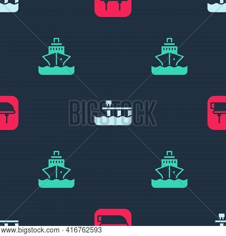 Set Lifeboat, Beach Pier Dock And Cruise Ship On Seamless Pattern. Vector