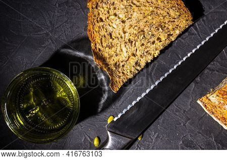 Slice Of Rustic Natural Yeast-free Bread With Flax, Poppy Seeds, Sesame Seeds, Millet, Pumpkin And S
