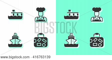 Set Suitcase, Beach Pier Dock, Cruise Ship And Cook Icon. Vector
