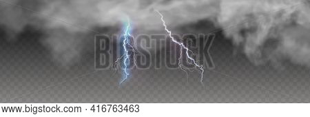 Vector Realistic Dark Stormy Sky With Clouds, Heavy Rain And Lightning Strikes