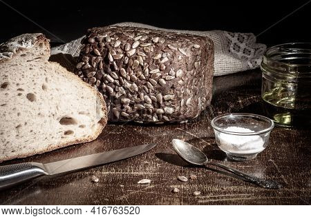 Still Life - Yeast-free Buckwheat Bread, Black Bread With Sunflower Seeds, Olive Oil And Coarse Salt