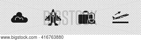 Set Cloud Weather, Jet Fighter, Suitcase And Plane Takeoff Icon. Vector