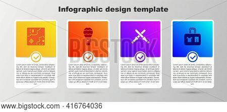 Set World Travel Map, Hot Air Balloon, Marshalling Wands And Suitcase. Business Infographic Template
