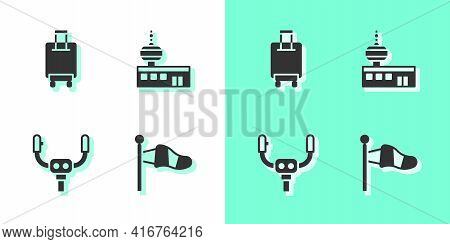 Set Cone Meteorology Windsock, Suitcase, Aircraft Steering Helm And Airport Control Tower Icon. Vect