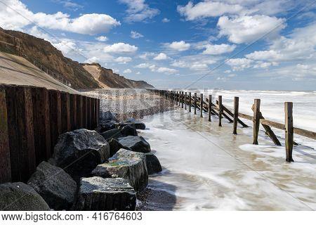 The Sea Defenses At West Runton Beach (norfolk - Uk Coast)