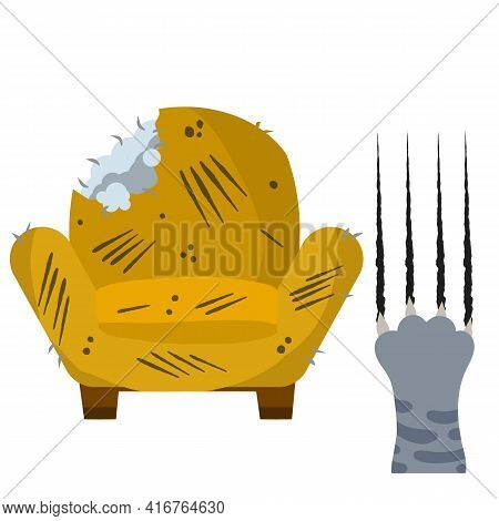 Old Chair. Scratched And Cut Armchair. Paw Of A Grey Cat With Trace Claws. Broken Furniture. Bad Beh