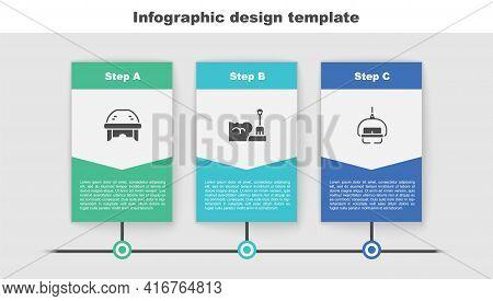 Set Hockey Helmet, Shovel In Snowdrift And Ski Lift. Business Infographic Template. Vector