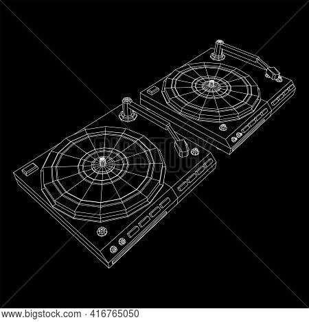 Vinyl Turntable Audio Device. Wireframe Low Poly Mesh