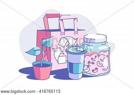 Zero Waste Lifestyle Vector Illustration. Eco Friendly