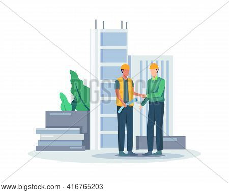 Construction Worker Holding Blueprint, Architects Discuss A Project. Construction Of Buildings Accor