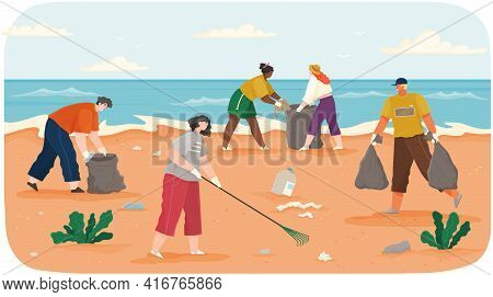 People Volunteering Collect Garbage Ontaminated Areas Of Sand On Shore. Characters Throwing Trash