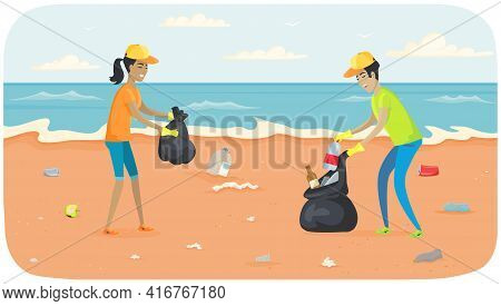 Young People Are Collecting Garbage And Waste On Contaminated Areas Of Sand On Ocean Bank