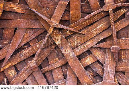 Rusty Sword, Background Of A Large Number Of Vintage, Deformed Swords, Erosion Of Blades That Once S
