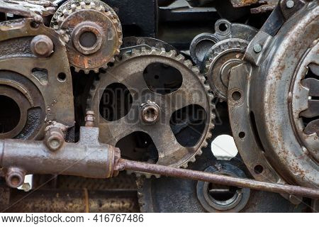 Steampunk Texture, Background, Abstract Stylized Collage Of A Mechanical Device, Rust And Traces Of